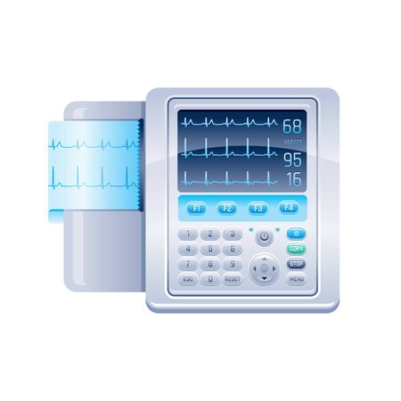 ECG monitor icon. Heartbeat machine, medical health care equipment. Vector electrocardiogram display icon, heart cardiac ekg screen. Electrocardiograph illustration isolated on white background 向量圖像