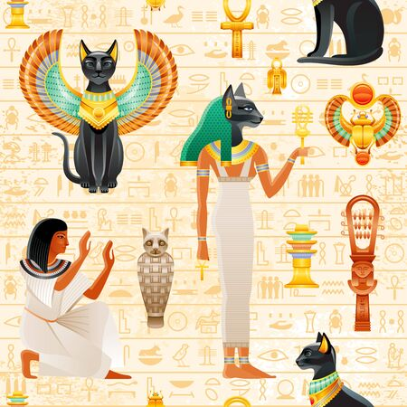 Ancient Egypt seamless pattern. Cat Bastet goddess. Old Pharaoh vector symbol background. Black cat with scarab wings and gold necklace, slave, sistrum. Ancient Egypt art Historical wallpaper 向量圖像