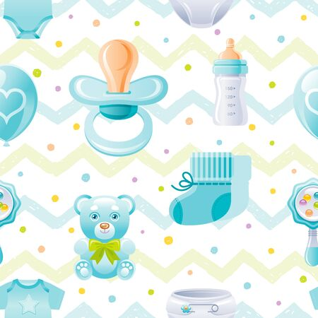 Boy baby shower seamless pattern. Cute cartoon wallpaper background whith kid icons - pacifier, bear toy, baby bottle, shoes. Isolated on white background with hand drawn blue zig zag polka dot