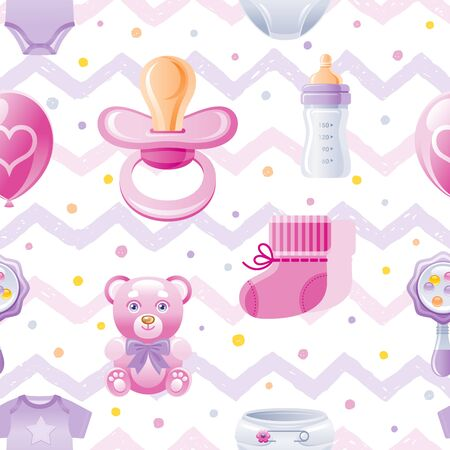 Girl baby shower seamless pattern. Cute cartoon wallpaper background whith kid icons - pacifier, bear toy, baby bottle, shoes. Isolated on white background with hand drawn pink zig zag polka dot