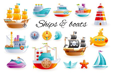 Ship boat set, vector cartoon illustration. Sea toy transport collection. 3d sail yacht, ocean cruise ship, sailboat, submarine, fishing trawler. Cute water kid icons isolated on white background Illustration
