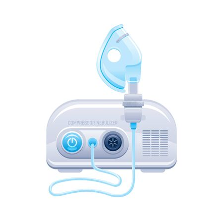 Nebulizer icon. Medical machine with mask and aerosol compressor for oxygen therapy. Hospital breath treatment equipment for asthma, pneumonia, bronchitis. Vector device illustration isolated on white