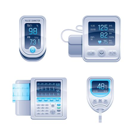 Medical device icon set. Tonometer, glucometer blood glucose meter, pulse oximeter, ECG electrocardiograph. 3d realistic vector illustration collection isolated white background. Health care equipment Vettoriali