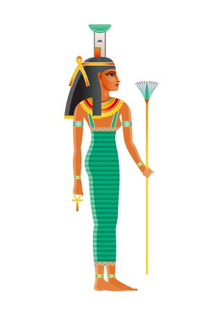 Nephthys ancient Egyptian goddess. Daughter of Nut, Geb. Isis sister. Seth wife. Deity of mourning, night darkness, childbirth, dead protection, magic, health, embalming. Old historical art from Egypt 向量圖像