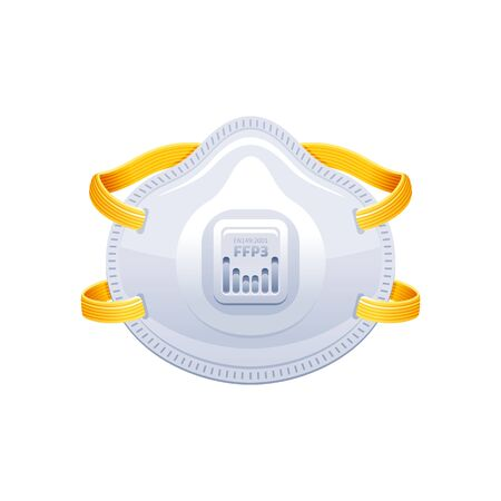 Respirator FFP3 icon. PPE surgical mask vector illustration. Corona virus Covid 19 protect equipment. Respirator for coronavirus prevention, medical design element. Isolated on white background