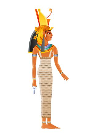 Mut ancient Egyptian daity. Mother goddess worshipped in ancient Egypt. Wearing double crown plus royal vulture headdress. Also can be queen Nefertari Meritmut, pharaoh wife. Old historical art