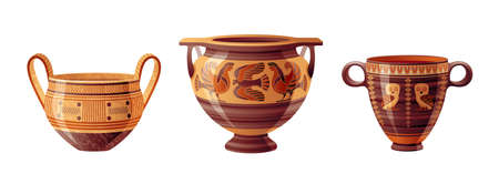 Ancient Greek vase set. Pottery vector. Antique jug from Greece. Old clay amphora, pot, urn or jar for wine and olive oil. vintage ceramic icon isolated. Flat cartoon art with ornament decoration Banque d'images - 161497032
