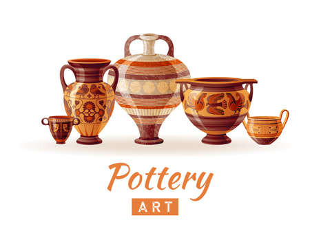 Pottery logo. Vase vector. Greek pot, jug, amphora, urn, vase set. Clay ancient ceramic icons. Old greek art. Handmade pottery studio design. Antique grecian art vector illustration