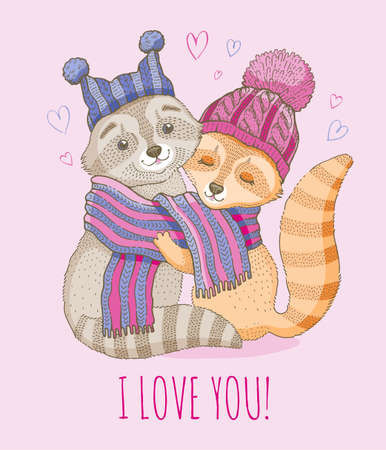 Cute animal love couple. Vector Valentine cartoon raccoon baby illustration with hearts. Funny romantic or wedding background. Watercolor girl and boy in scarf drawing. Cute Valentine s greetin card Ilustrace