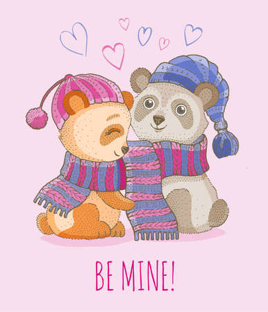 Cute animal love couple. Vector Valentine cartoon panda bear baby illustration with hearts. Funny romantic or wedding background. Watercolor girl and boy in scarf drawing. Cute Valentine greetin card