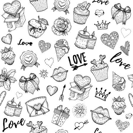 Valentine love sketch pattern. Vector heart engraved background. Doodle seamless illustration. Valentine s day romantic wallpaper. Fashion cute set with candy, chocolate strawberry, gift box, kiss Ilustrace
