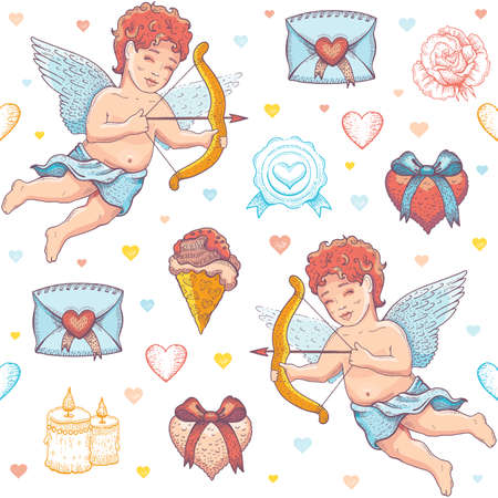 Valentine love sketch pattern. Vector heart background. Doodle seamless illustration. Valentine s day romantic wallpaper. Fashion watercolor cute set with envelope, cupid cherub, hearts