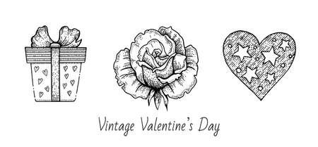 Valentine sketch set. Vintage doodle vector icons. Happy Valentine s day illustration. Hand drawn romantic symbols. Cute line graphics with gift box, rose flower, heart. 向量圖像