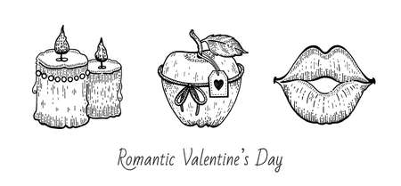 Valentine sketch set. Vintage doodle vector icons. Happy Valentine s day illustration. Hand drawn romantic symbols. Cute line graphics with candles, apple gift, sexy kissing lips. Banque d'images - 162040196