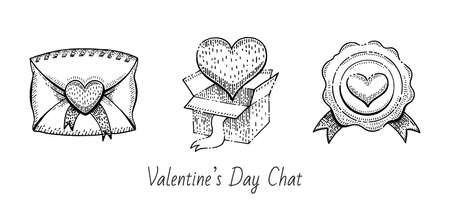 Valentine sketch set. Vintage doodle vector icons. Happy Valentine s day illustration. Hand drawn romantic symbols. Cute line graphics with envelope, post gift package with heart, wax stamp. 向量圖像