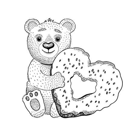 Bear toy vector with heart donut. Cute love Valentine day drawing. Happy teddy illustration. Cartoon Valentine s clip art. Sketch line friend cart or coloring book animal