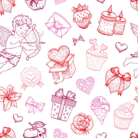 Valentine love sketch pattern. Vector heart background. Doodle seamless illustration. Valentines day romantic wallpaper. Fashion pink cute set with candy, cupid angel, chocolate strawberry, gift box Ilustrace