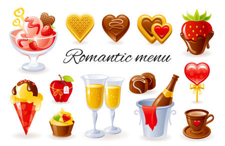 Vector Valentine dessert. Food set. Chocolate candy, cake, cupcake, ice cream, cookie, fruit strawberry, champagne. Love day icon illustration. Sweet red heart dessert food. Romantic Valentine s day
