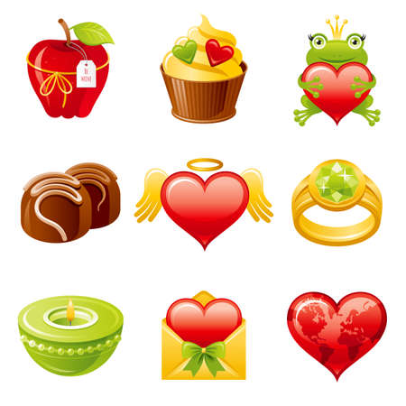 Valentine day icon. Vector flat love set. Heart illustration. Dating february design for gift tag, wedding invitation, greeting card. Cute cartoon Valentine s art drawing with cupcake, ring, frog