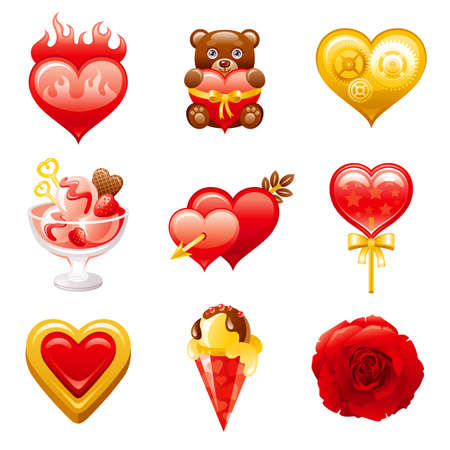 Valentine day icon. Vector flat love set. Heart illustration. Dating february design for gift tag, wedding invitation, greeting card. Cute cartoon Valentine s art drawing with bear toy, rose, heart Banque d'images - 162709139