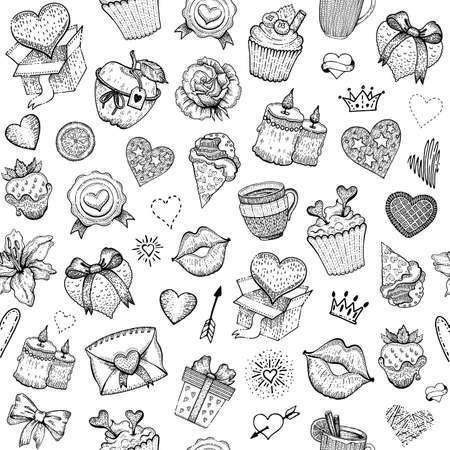 Valentine love sketch pattern. Vector heart engraved background. Doodle seamless illustration. Valentine s day romantic wallpaper. Fashion cute set with candy, chocolate strawberry, gift box, kiss 向量圖像