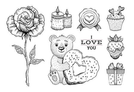 Valentine sketch set. Vintage doodle vector icons for card. Happy Valentine day illustration. Bear toy with heart donut, cute rose, strawberry, cupcake. Love Valentine day vector illustration
