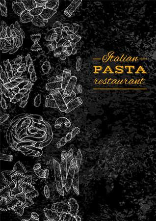 Pasta menu. Italian food restaurant vector illustration. Logo and menu design on blackboard background. Spaghetti, penne, macaroni in chalk board vintage art. Sketch chalkboard cafe hand drawing