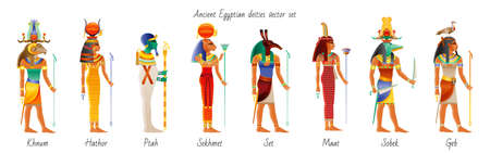 Ancient god goddess from Egypt icon set. Khnum, Hathor, Ptah, Sekhmet, Set, Maat, Sobek, Geb. Egyptian deity. Old painting style with realistic cartoon element. Vector illustration isolated on white Ilustrace