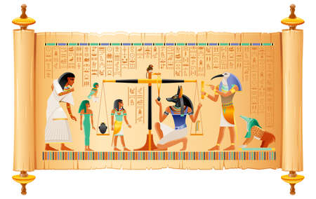 Egyptian papyrus from Book of Dead with Weighing of Heart, afterlife ritual in Duat. Osiris judgment illustration. God Anubis, Thoth with scales pair. Vector ancient Egypt papyrus with hieroglyph text