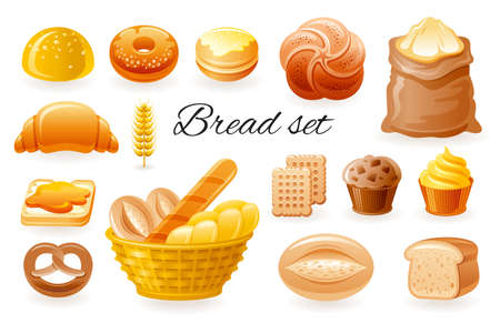 Bread vector bakery icons. Cartoon loaf, french baguette, bagel, bun, croissant, cake, toast, sweet roll set. Pastry breakfast illustration. Grain cereal bread collection. Wheat food snack. Banque d'images - 165954586