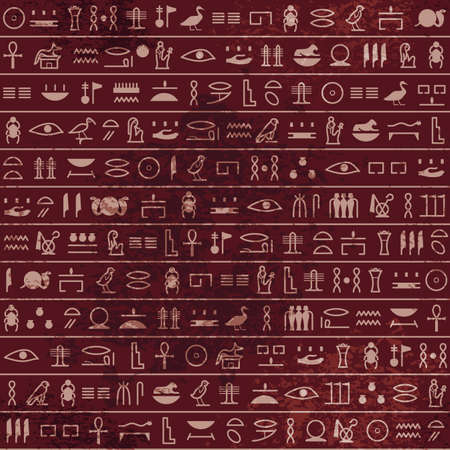 Hieroglyphs pattern Ancient egyptian seamless papyrus. Historical vector from Ancient Egypt. Old grunge manuscript with pharaoh and god symbols, script.