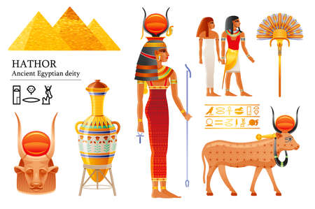 Hathor Egyptian goddess set, sky deity with sun, cow horns. Ancient Egyptian god of music, dance, joy, sexuality, beauty, love, motherhood. 3d realistic vector illustration isolated white background