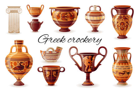 Ancient Greek vase set. Pottery vector. Antique jug from Greece. Old clay amphora, pot, urn, jar for wine, olive oil, cup, column. vintage ceramic icon isolated. Flat cartoon art, ornament decoration