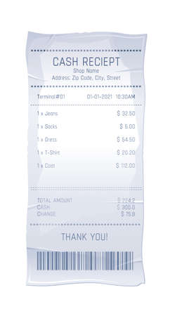 Receipt bill. Paper cash shop check. Isolated vector invoice payment. Supermarket atm cheque. Receipt bill print from clothes store. Pay voucher icon on white background. Bank order list with tax Vettoriali