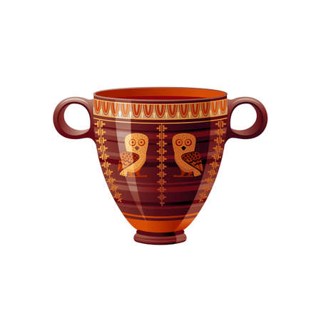 Ancient Greek vase. Pottery vector. Antique jug from Greece. Old clay amphora, pot, urn or jar for wine and olive oil. vintage ceramic icon isolated. Flat cartoon art with ornament decoration 向量圖像