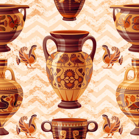 Vase pattern. Greek Pottery Seamless vector background with old clay Pot, Oil Jug, Urn, Amphora, Glass, Jar, Vase. Ancient pattern from Greece. Antique ceramic art. Cartoon ethnic vintage decor
