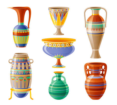 Egyptian crockery icon set. Vase, pot, amphora, jug. Old geometric floral ornament decoration from ancient Egypt clay art craft. Cartoon 3d realistic, vector illustration isolated on white background Banque d'images - 167144876
