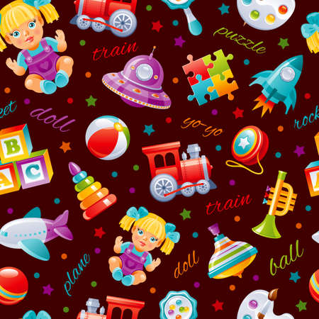 Toy pattern background. Baby seamless vector. Kid cartoon wallpaper for girl, boy. Cute game set with plane, train, yo, ball, doll, pyramid, puzzle, blocks, rocket, UFO, whirligig. Children s top play Ilustrace
