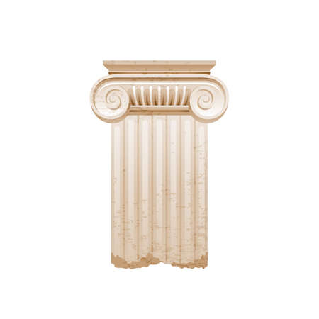 Column pillar vector. Greek or Roman old architecture. Ancient antique classic column from Greece, Rome. White pedestal illustration. Old style design pillar, marble stone isolated sculpture icon. 向量圖像