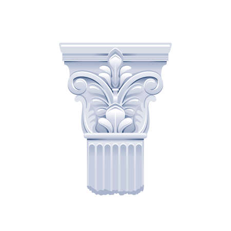 Column pillar vector. Greek or Roman old architecture. Ancient antique classic column from Greece, Rome. Corinthian white pedestal illustration. Old style design pillar, stone isolated sculpture icon.