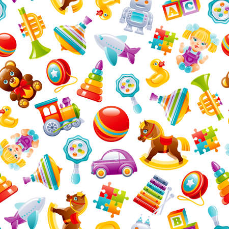 Toy pattern background. Baby seamless vector. Kid cartoon wallpaper for girl, boy. Cute game set with car, train, yo, xylophone, ball, robot, pyramid, puzzle, blocks, duck. Children s top play box