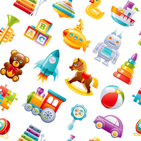Toy pattern background. Baby seamless vector. Kid cartoon wallpaper for girl, boy. Cute game set with car, train, yo, submarine, ball, robot, pyramid, puzzle, blocks, rocket. Children s top play box