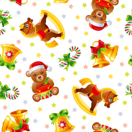 Christmas pattern. Seamless toy vector background. Holiday wrapping paper for gifts. Vintage Merry Xmas wallpaper with retro horse, cute bear with drum, bells. Winter Christmas cartoon child icon set