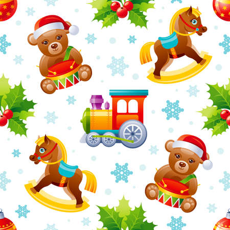 Christmas pattern. Seamless toy vector background. Holiday wrapping paper for gifts. Vintage Merry Xmas wallpaper with retro horse, cute bear with drum, train. Winter Christmas cartoon child icon set Ilustrace