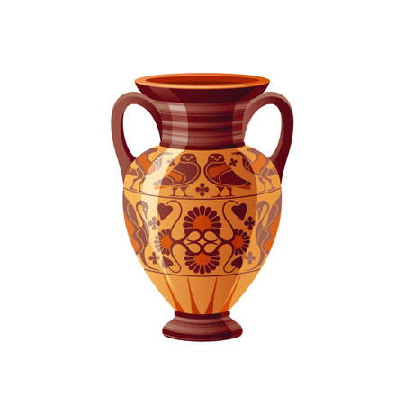 Ancient Greek vase. Pottery vector. Antique jug from Greece. Old clay amphora, pot, urn or jar for wine and olive oil. vintage ceramic icon isolated. Flat cartoon art with ornament decor, owls, flower