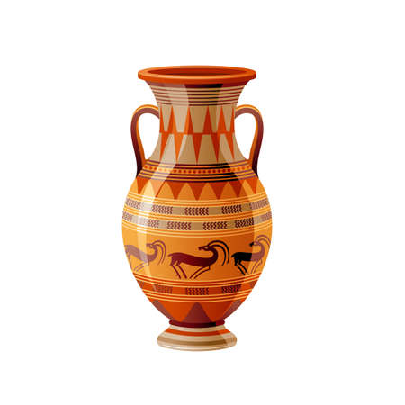 Ancient Greek vase. Pottery vector. Antique jug from Greece. Old clay amphora, pot, urn or jar for wine and olive oil. vintage ceramic icon isolated. Flat cartoon art with ornament decor, antelope