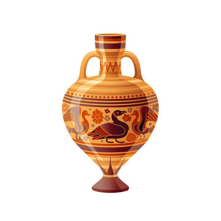 Ancient Greek vase. Pottery vector. Antique jug from Greece. Old clay amphora, pot, urn or jar for wine and olive oil. vintage ceramic icon isolated. Flat cartoon art with ornament decor, duck bird