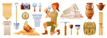 Archaeologist cartoon vector. Archeology ancient history flat icon set. Fossil, pottery, column artifact. Dig excavation tool, brush. Greek Egypt archaeology illustration. Archeologist 3d collection Ilustración de vector