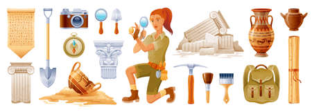 Archaeologist cartoon vector. Archeology ancient history flat icon set. Fossil, pottery, column artifact. Dig excavation tool, brush. Greek Egypt archaeology illustration. Archeologist 3d collection