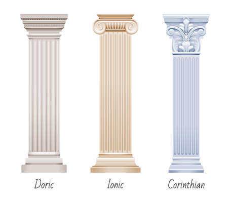 Column pillar vector set. Greek or Roman old architecture. Ancient antique classic column from Greece, Rome. White pedestal illustration. Old style design pillar, marble stone isolated sculpture icon.